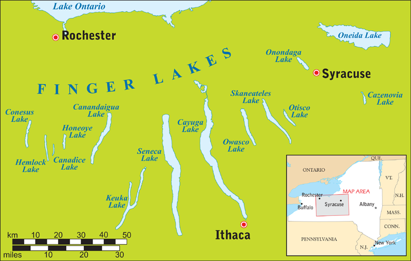 Finger Lakes region map